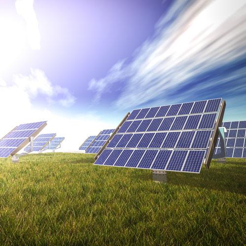 Solar panels on grass